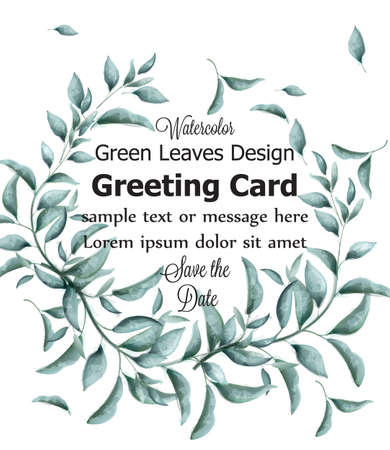 Greeting card with green branches watercolor