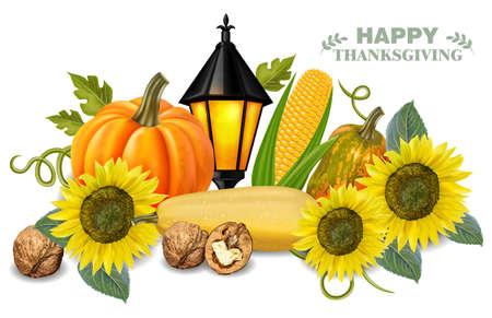 Autumn harvest pumpkin and sunflower 写真素材