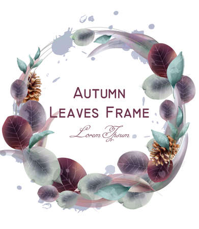 Autumn leaves wreath Vector watercolor. Round leaf frame decoration templates