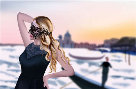 Girl in Venice Vector. Beautiful sunset background. Grand canal. Black mask and dress illustration Vettoriali