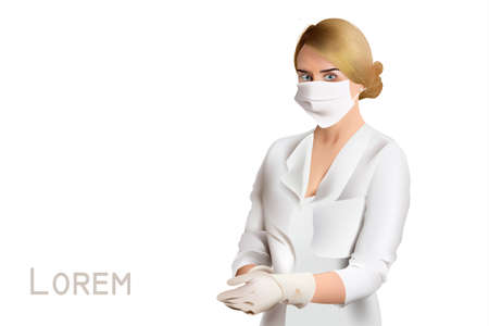 Woman doctor or nurse Vector portrait illustration. Medical treatment template project Illustration