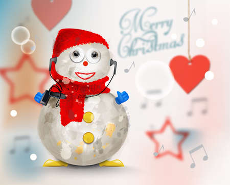 Merry Christmas card with cute snowman Vector watercolor. Soft background. Colorful decor elements illustration