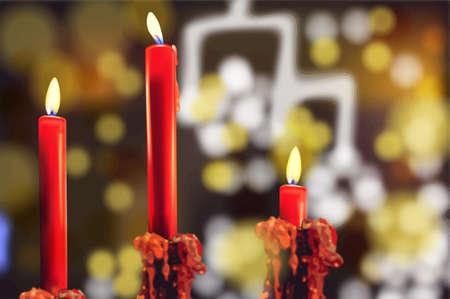 Red candles Vector realistic. Bokeh lights background 3d illustration Illustration