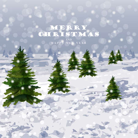 Winter snowing background Vector. Christmas trees and lot of snow. Graphic style illustration