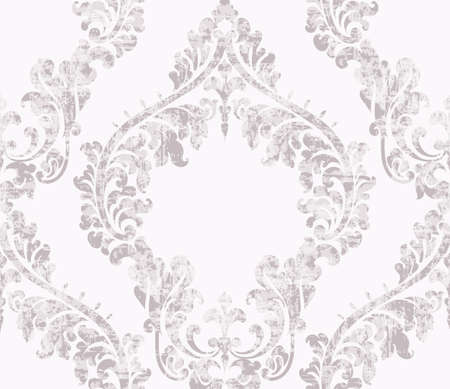 Vintage acanthus decor ornamented pattern Vector. Victorian flourish Royal texture. Flower decorative design. Light pink and white color