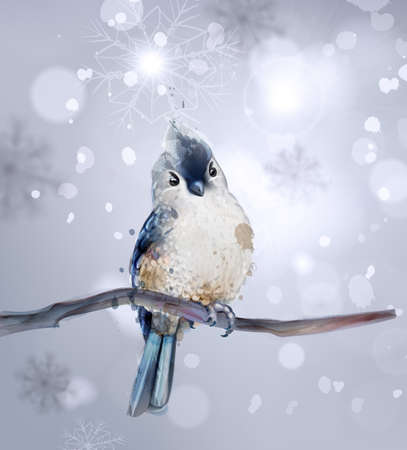Cute bird on a branch watercolor Vector. Winter snowy beautiful background
