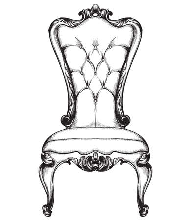 Baroque luxury chair. Royal style decotations. Victorian ornaments engraved. Imperial furniture decor. Vector illustrations line art baroque stylish designs