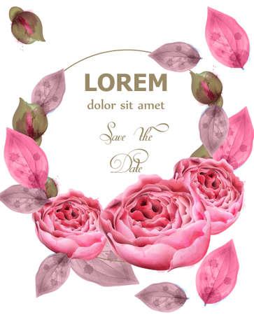 Delicate pink roses wreath Vector. watercolor floral background. Elegance flowers wallpaper. Vintage decorative round frame bouquet Illustration