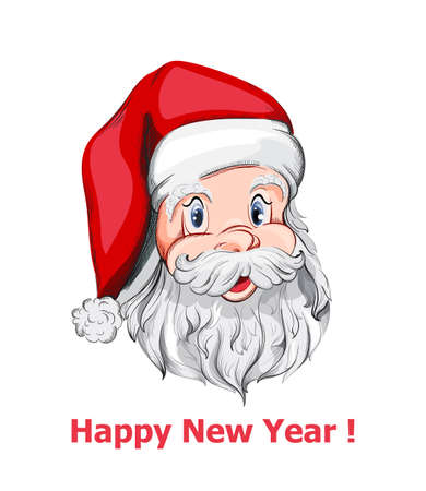 Santa Claus portrait close up Vector. Happy New Year symbol. Happy Holidays decor Ilustração