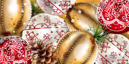 Christmas balls Vector decoration banner. Realistic ornamented Christmas baubles. colorful New Year decor gold and red