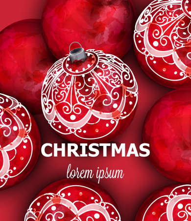 Red Christmas balls Vector decoration banner. Realistic ornamented Christmas baubles. colorful New Year decors red and white painted style