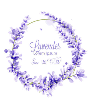 Pink watercolor lavender wreath Vector. delicate floral blooming decor. Invitation card, wedding ceremony, postcard, Women day greeting. Flow colorful drops. Beautiful pastel colors Archivio Fotografico - 113670978