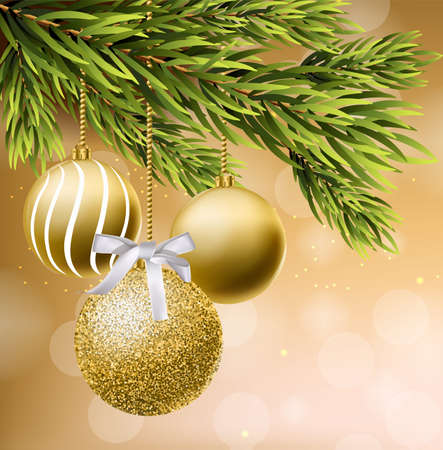 Golden glitter Christmas balls Vector realistic. Shiny baubles on a Christmas tree. Detailed 3d elements illustration decors card
