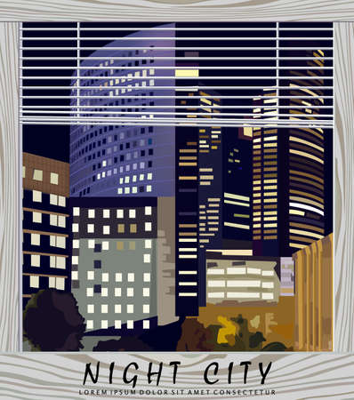 Night city Business center Vector illustration. La Defense Business center in Paris France. View from the window. Beautiful illuminated buildings at night