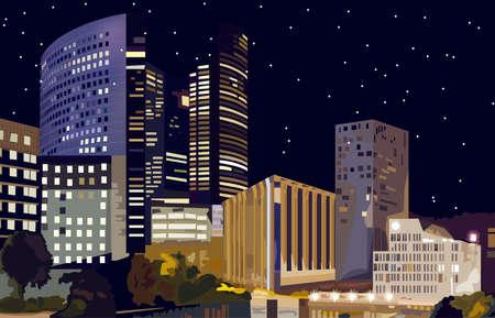Business center at night Vector. La Defense Business center in Paris France. Beautiful illuminated buildings at night Ilustração