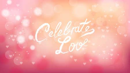 Célébrez l'amour sur fond rose Saint Valentin vecteur. Bannière romantique. Carte d'invitation ou brochure. Couleur douce rose pastel Vecteurs