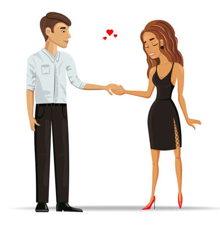 Man and woman in love holding hands Vector. Romantic couple detailed cartoon characters. Valentine day couple Banco de Imagens - 126566223
