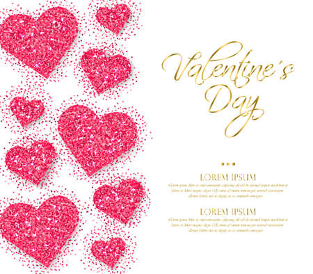 Pink glitter hearts Valentine day Vector. Romantic card template. Invitation or party poster Illustration