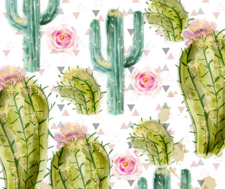 Cactus pattern Vector watercolor. Summer exotic texture. Tropic collection painted style Çizim