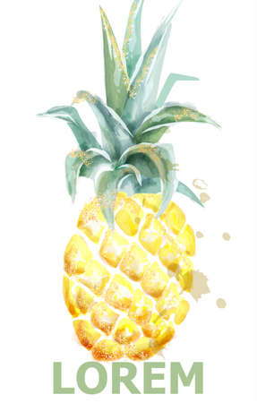 Pineapple Vector watercolor. Tropic fruit with glitter isolated on white. Icon template artistic exotic illustration. Menu layouts