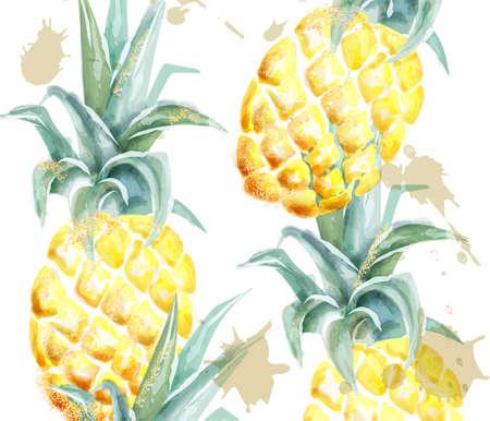 Ananas-Muster Vektor-Aquarell.