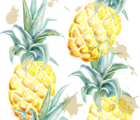 Pineapple pattern Vector watercolor.