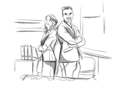 Happy business man and woman standing cross handed Vector sketch. Succesful team workers. Storyboard digital template. Sketch style line art