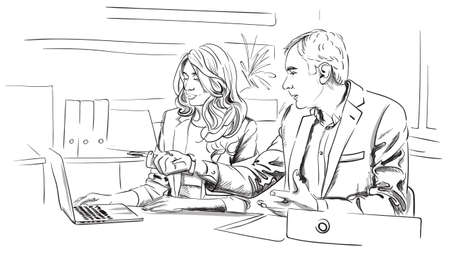 Men and woman business talking in the office Vector. Storyboard digital template. Sketch style line art Vektorové ilustrace