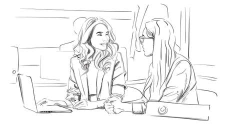 Two business women talking in the office Vector. Storyboard digital template. Sketch style line art illustration