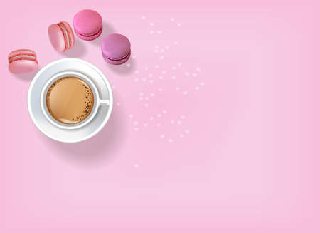 Breakfast coffee and macaroons Vector realistic. 3d detailed card menu template. Delicious desserts pink posters Top view
