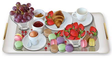 Breakfast coffee, croissant strawberries Vector realistic. Full morning fresh meal. 3d detailed menu template. Strawberry jam flavor. delicious desserts poster Ilustracje wektorowe
