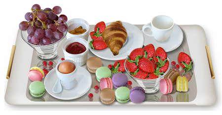 Desayuno café, croissant fresas Vector realista. Comida fresca de toda la mañana. Plantilla de menú detallado 3d. Sabor a mermelada de fresa. cartel de postres deliciosos Ilustración de vector