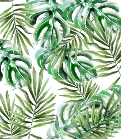 Palm leaves pattern Vector watercolor. Tropic exotic texture. Wild green decor