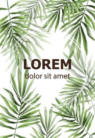 Palm leaves pattern Vector watercolor. Tropic exotic texture. Wild green decor Vektoros illusztráció