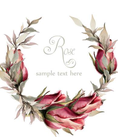 Roses wreath watercolor Vector. Spring summer wedding invitation card