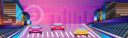 Car racing night banner Vector. Road cars traffic jam. Flat style