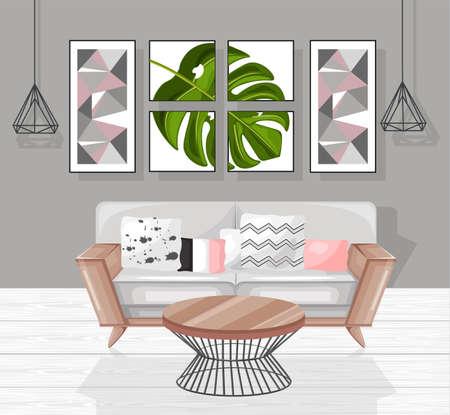 Living room interior design Vector. Modern decorations. Flat styles