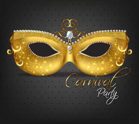 Golden ornamented mask Vector realistic. Stylish Masquerade Party.