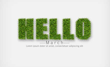 Hellos sign in green grass Vector realistic. Hello march spring symbols