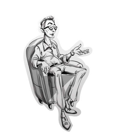 Journalist man sitting on a chair Vector sketch. Storyboard cartoon character illustration