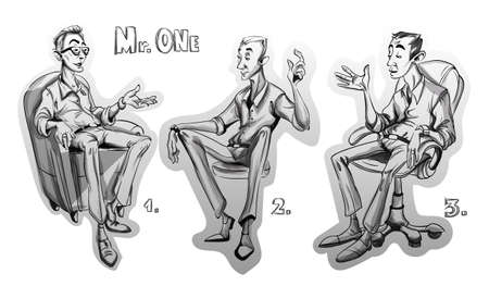 Man sitting on a chair Vector sketch storyboard. cartoon character illustration