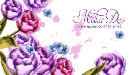 Mother day bouquet flowers card Vector watercolor. Spring bouquet card template
