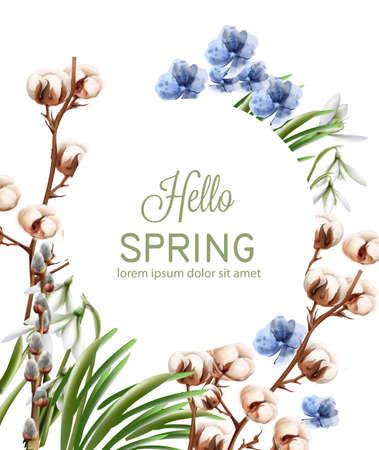Carte de fleurs de coton Aquarelle de vecteur. Cadre délicat de saison de printemps. Carte de conception de modèle pour mariage, anniversaire, fête des mères