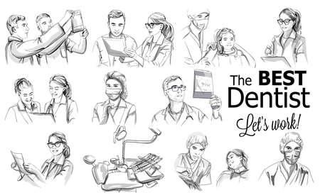 Dentist doctors storyboard Vector. Medical team concept set. Hospital medical staff team doctors nurses surgeon vector sketch illustration