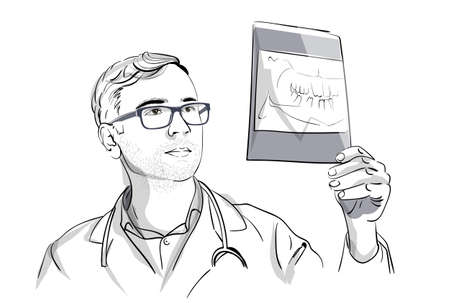 Dentist analyzing an X-ray Vector sketch storyboard. Detailed character illustration