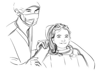 Doctor and patient happy smiling Vector sketch storyboard. Detailed characters illustration