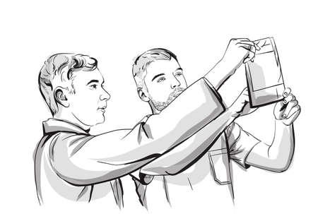Deux médecins analysant un storyboard de croquis de vecteur à rayons X. Illustration détaillée du personnage
