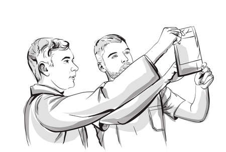 Two doctors analyzing an X-ray Vector sketch storyboard. Detailed character illustration