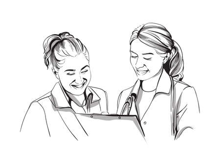 Happy two women doctors smiling Vector sketch storyboard. Detailed character illustration Illustration