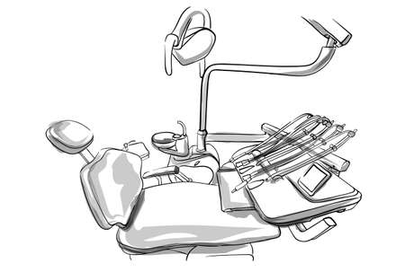 Dentist chair Vector sketch. Doctor utilities storyboard detailed illustration Vettoriali